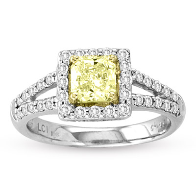 1.25ct tw Natural Fancy Yellow Diamond Fashion Engagement Ring set in 18k Gold