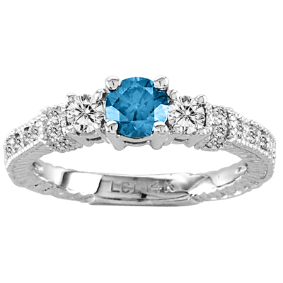 View 14k Gold with 0.80ct tw. of White and Blue Diamond