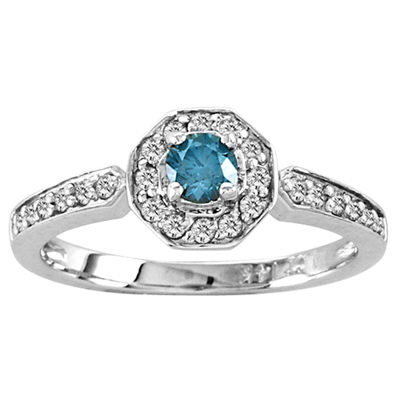 View 14k Gold ring with 0.50ct tw Blue & White Diamond