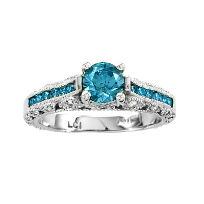 View 1.10ct tw Diamond Engagement Ring 0.70ct Blue Center
