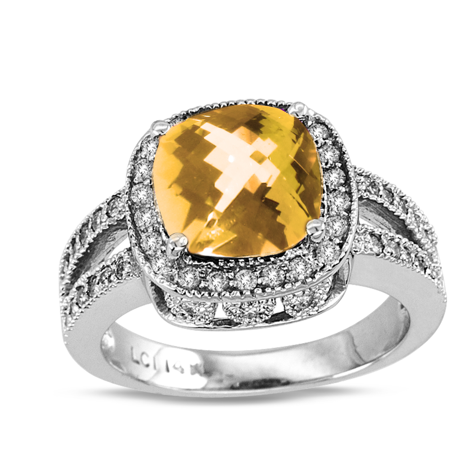 View 14k Gold Split Shank Ring with 0.50ct tw of Round Diamonds and 9mm Cushion Checkerboard Cut Citrin Center Stone