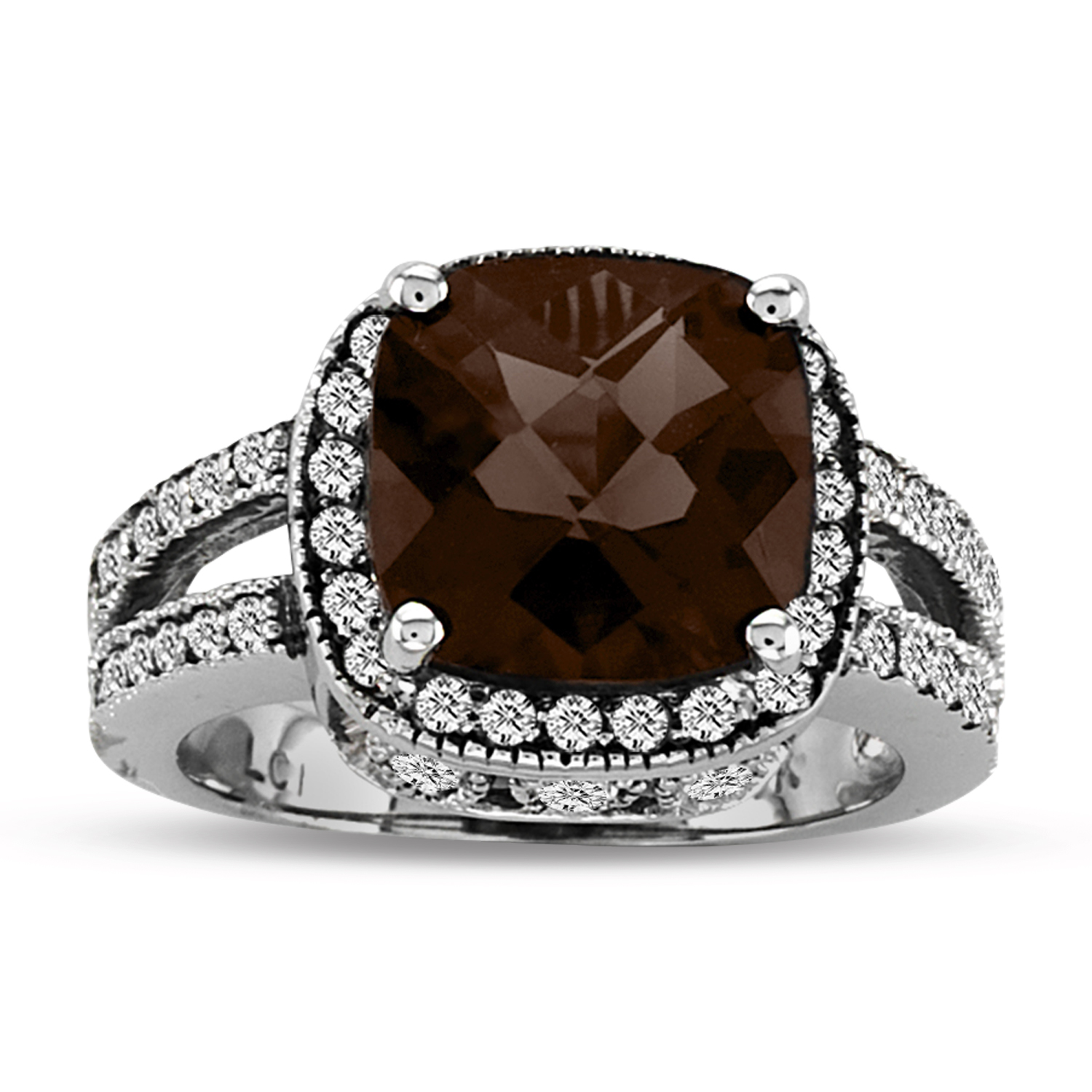 View 14k Gold Split Shank Ring with 0.50ct tw of Round Diamonds and 9mm Cushion Checkerboard Cut Smokey Quarts Center Stone