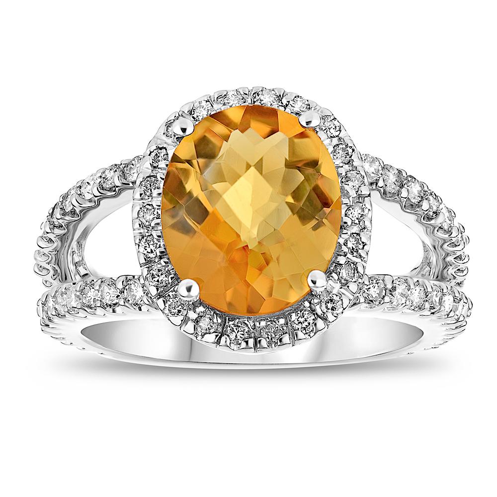 View 3.60ctw Citrine and Diamond Split Shank Ring in 14k Gold