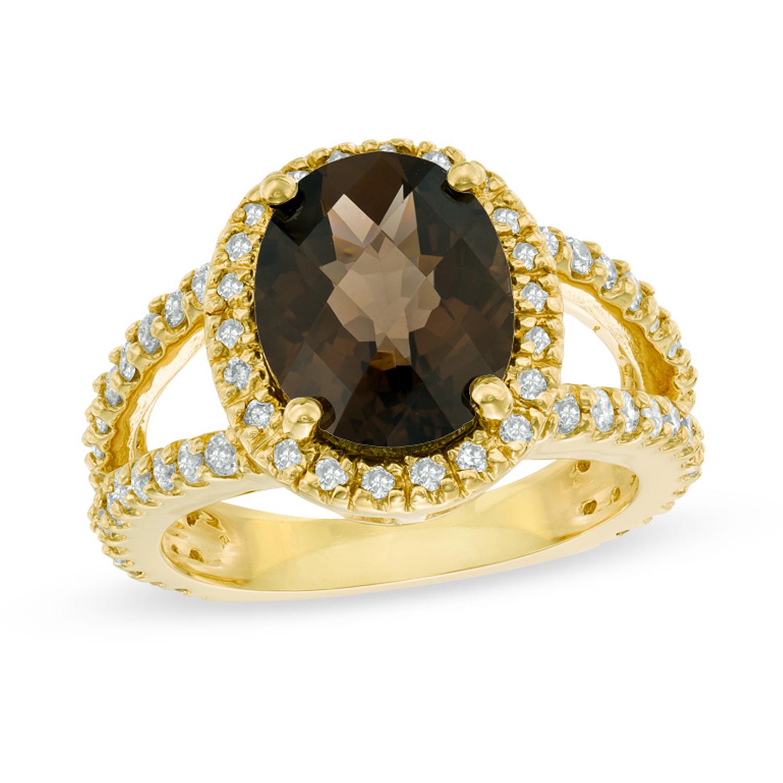 View 0.85ctw Diamond and Smokey Quartz Ring in 14k Gold