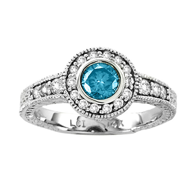 View 0.80ct tw Diamond Engagement Ring 0.50ct Blue Center