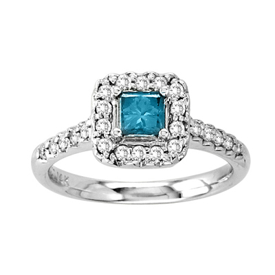 View 14k Gold Ring with 0.75ct tw Blue & White Diamond