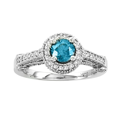 View 1.25ct tw Diamond Engagement Ring 0.50ct Blue Center