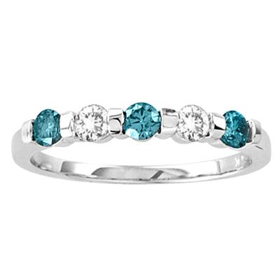 View 14k Gold Band wth 0.50ct tw Blue & White Diamond