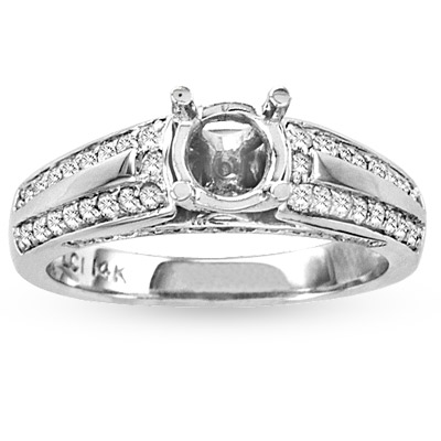 View 14k Gold Engagement Semi-Mount Ring with 0.50ct tw Round Diamonds