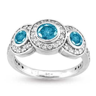 View 14k Gold Three Stone Bezel set ring with 1.00ct tw of  White & Blue Diamonds