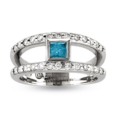 View 14k Gold Split Shank ring with 0.75ct tw White & Blue Diamonds