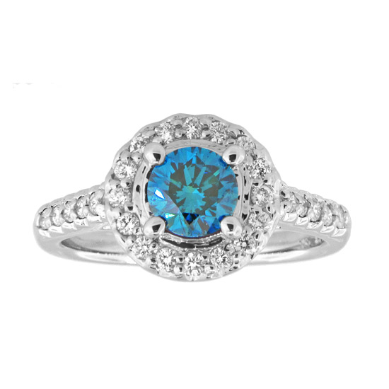 View 14k Gold Ring with 1.10ct tw white & blue diamond