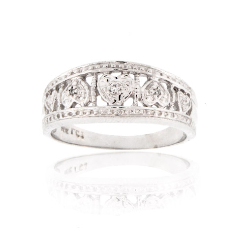 View 14K Gold Diamond Band with 0.02cttw of Diamonds