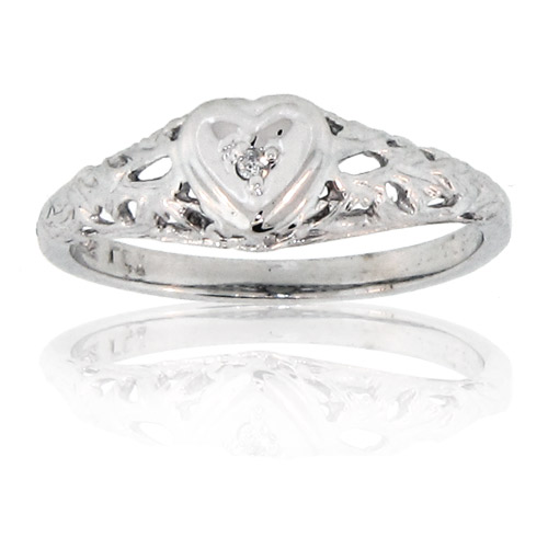 View 14k Gold Heart Ring with 0.01ct of Diamonds