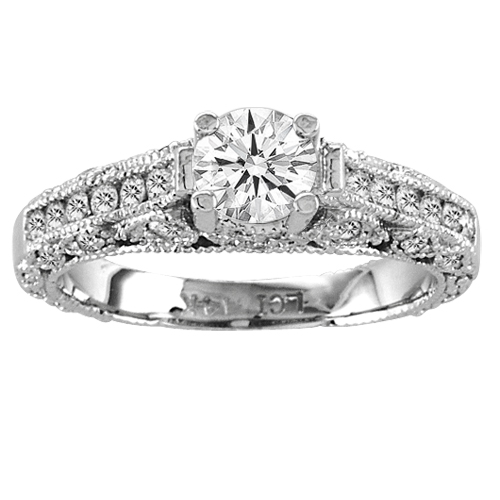 View 1.15ct tw 14K White Gold Engagement Ring Antique Look Micro Pave' Ring Round Diamond in Center H-J SI-I Quality Prong Set