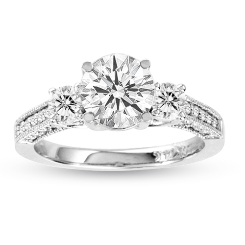 LeVaron 1.50cttw Diamond Engagement Ring 3 Stone Lucida Antique Look 14K White Gold H-J SI-I1 Quality 0.90ct Round Diamond in Center - 5 at Sears.com