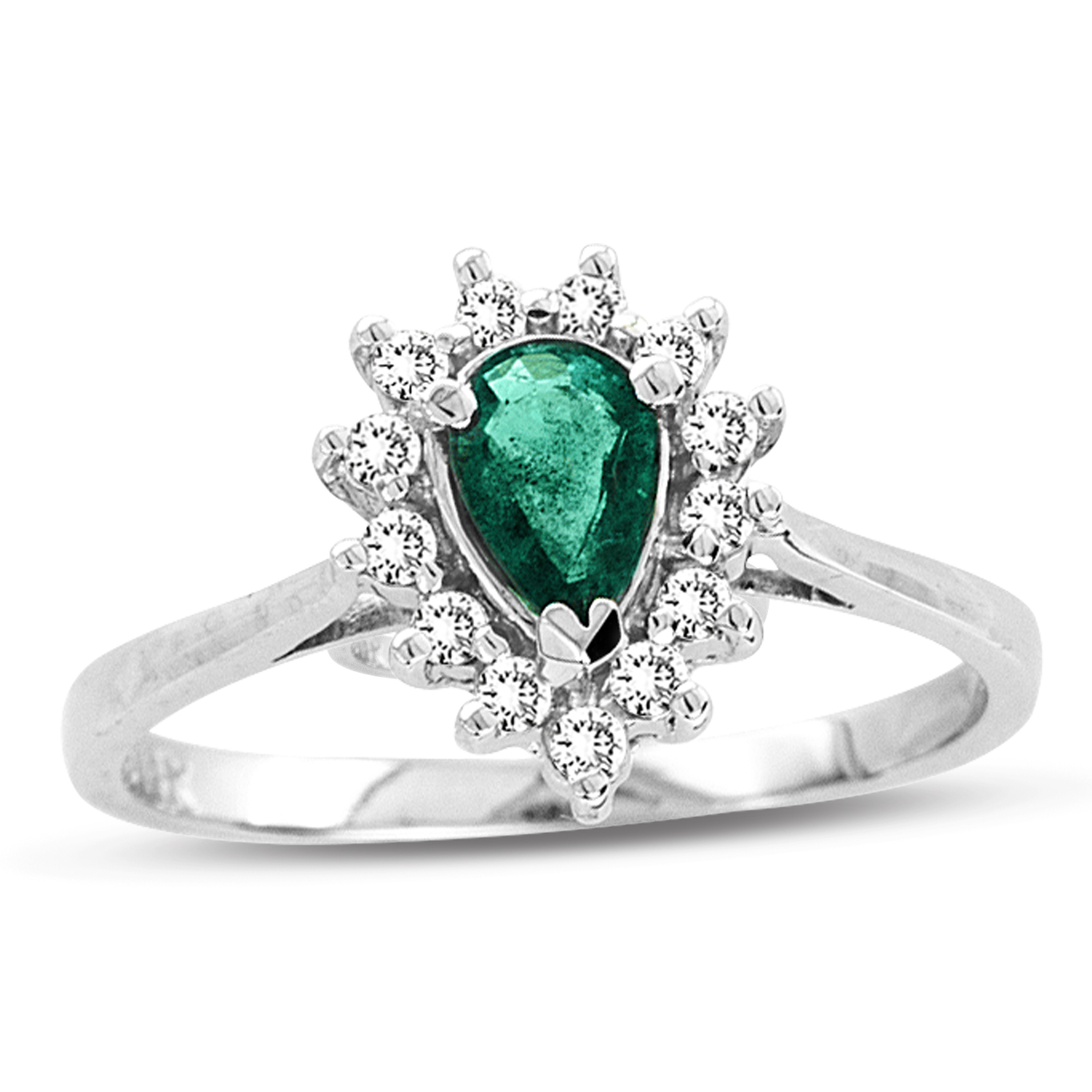 0.53ct tw Pear Shaped Emerald and Diamond Ring in 14k Gold