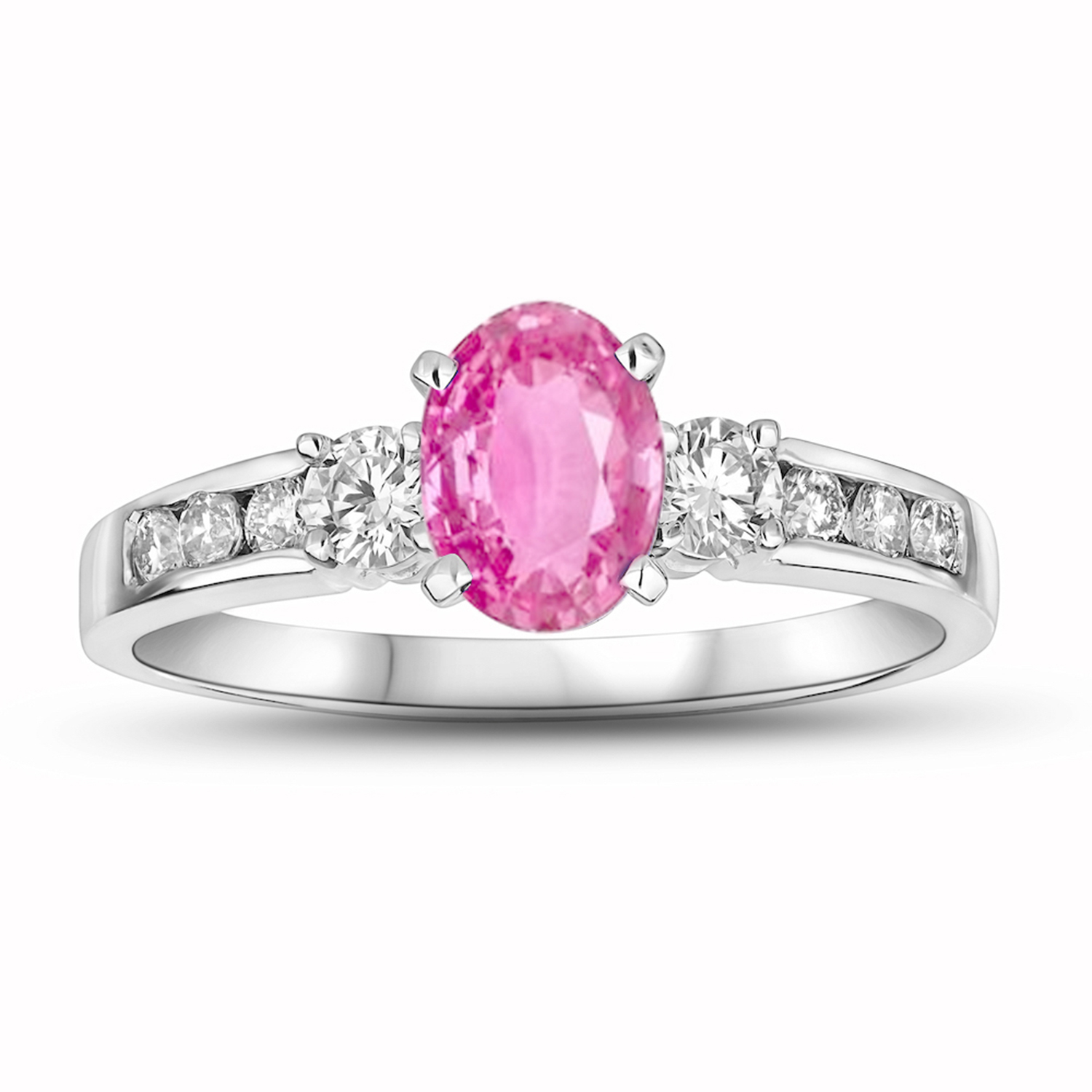 View 0.40ctw DIamond and Pink Sapphire Engagement Ring in 14k Gold
