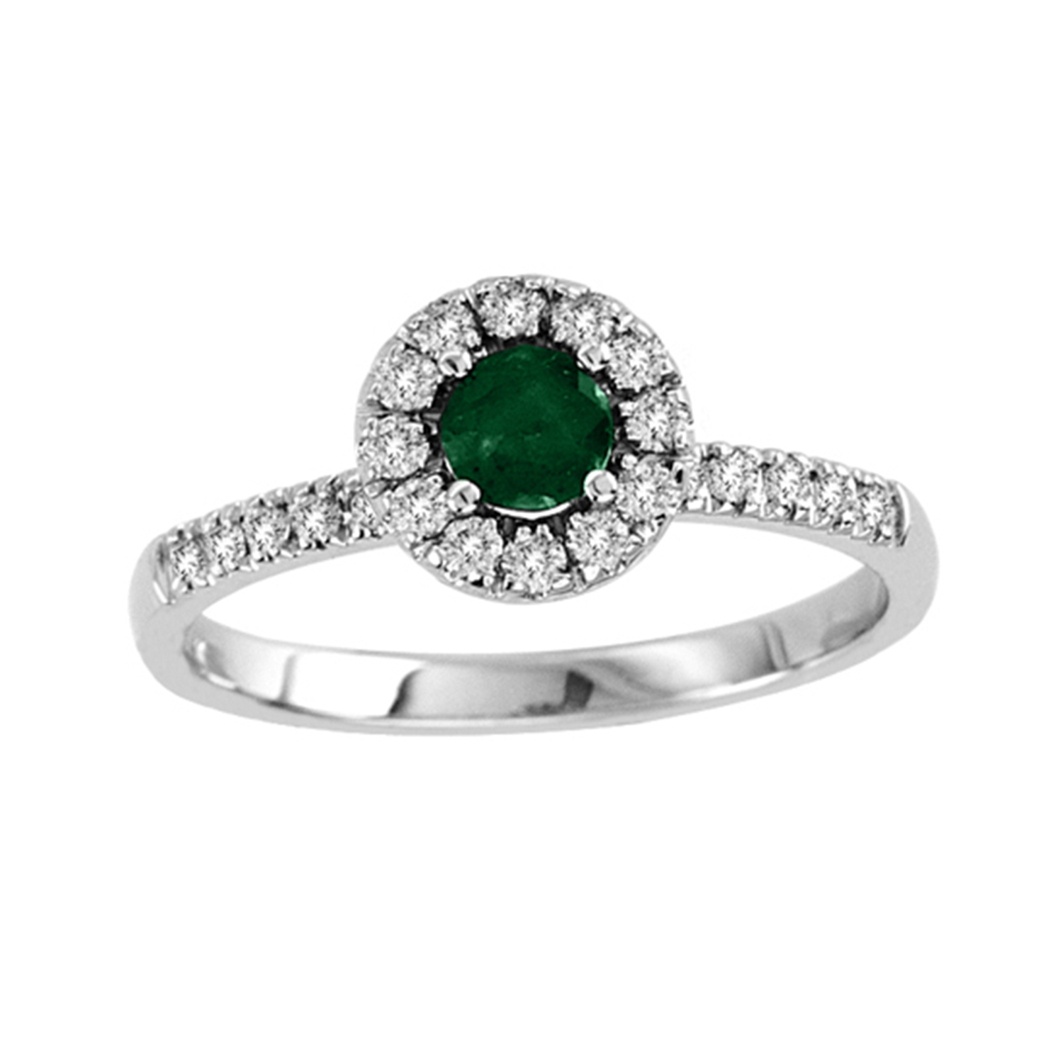 0.58cttw Emerald and Diamond Halo ring set in 14k Gold