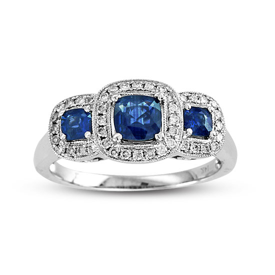 View 1.05cttw Sapphire and Diamond Fashion Ring set in 14k Gold 3 Stone Cushion Cut Sapphires