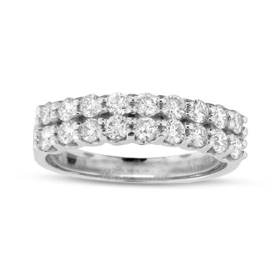 View 0.80cttw Diamond Two Row Wedding Band Set in 14k Gold