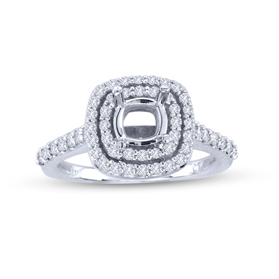 View 0.60cttw Diamond Engagement Semi Mount Ring in 14k Gold (hold a 3/4ct cushion or round)