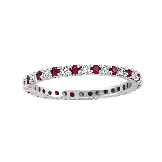 0.55cttw Natural Heated Ruby and Diamond Eternity Band in 14k Gold