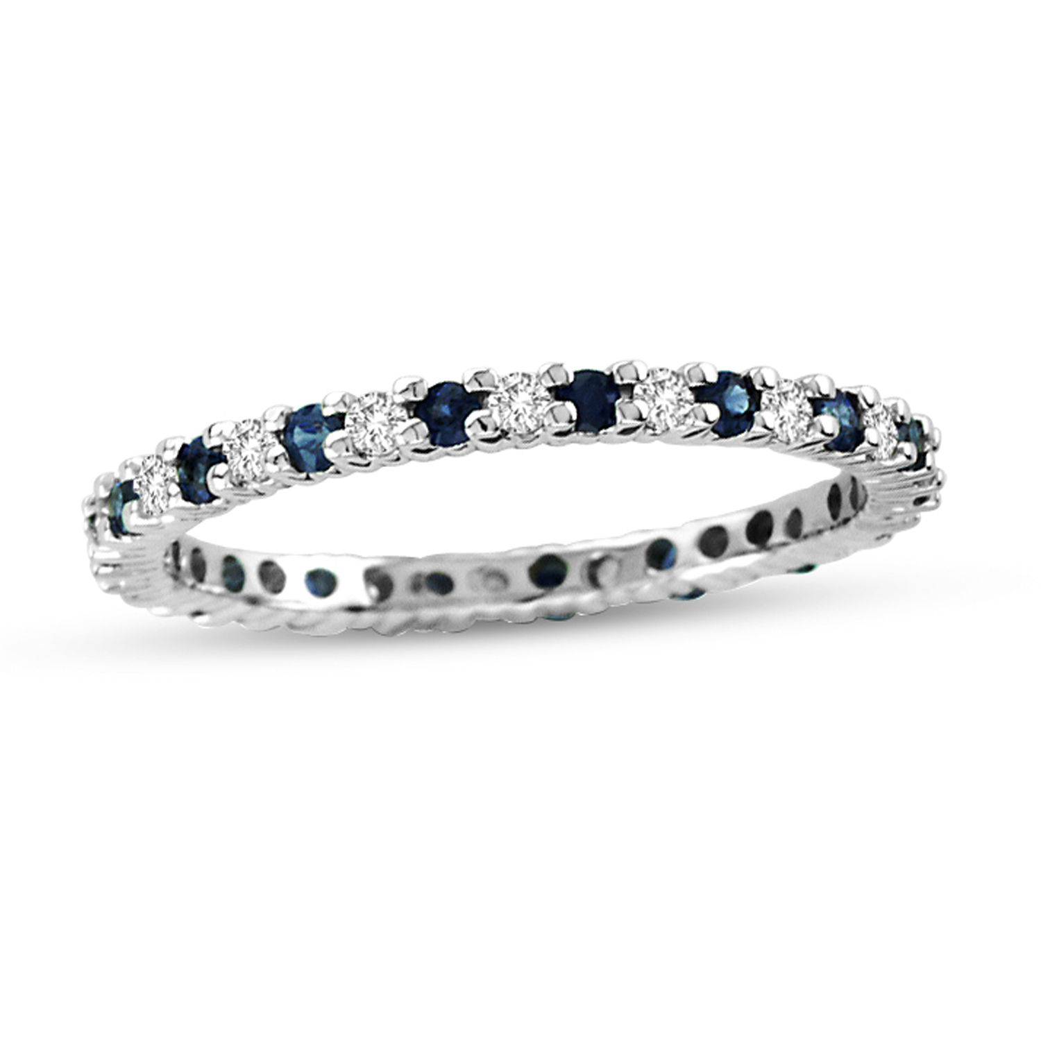 0.55cttw Sapphire and Diamond Eternity Ring in 14k Gold