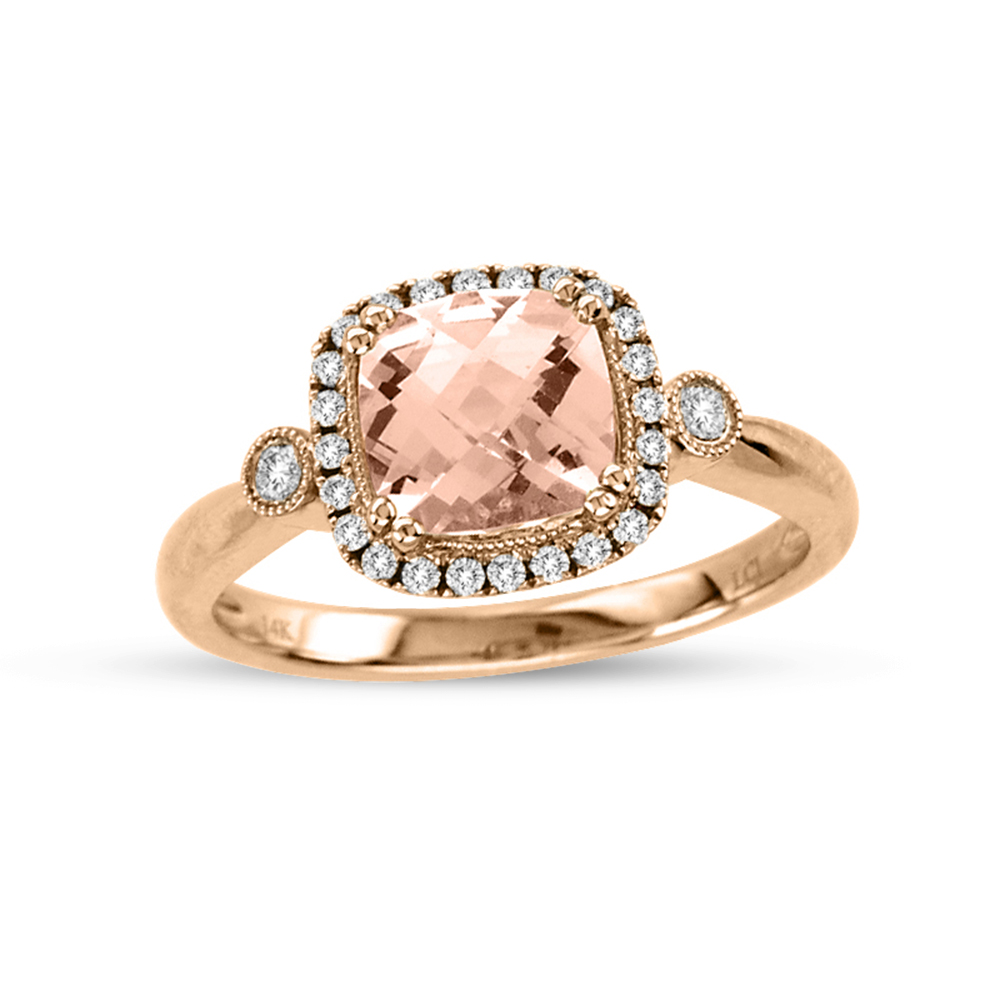 View 1.40cttw Diamond and Morganite Fashion Ring in 14k Rose Gold