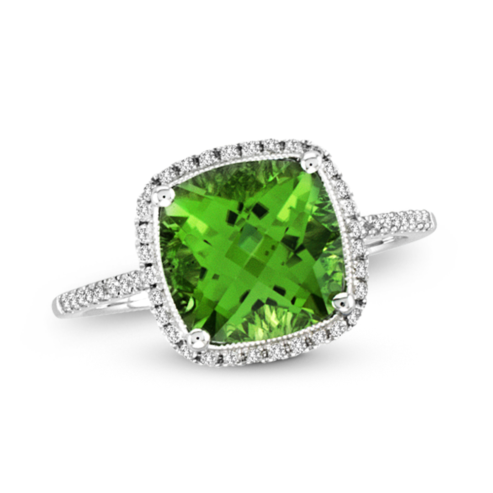 View 3.60ctw Diamond and Peridot Fashion Ring in 14k White Gold
