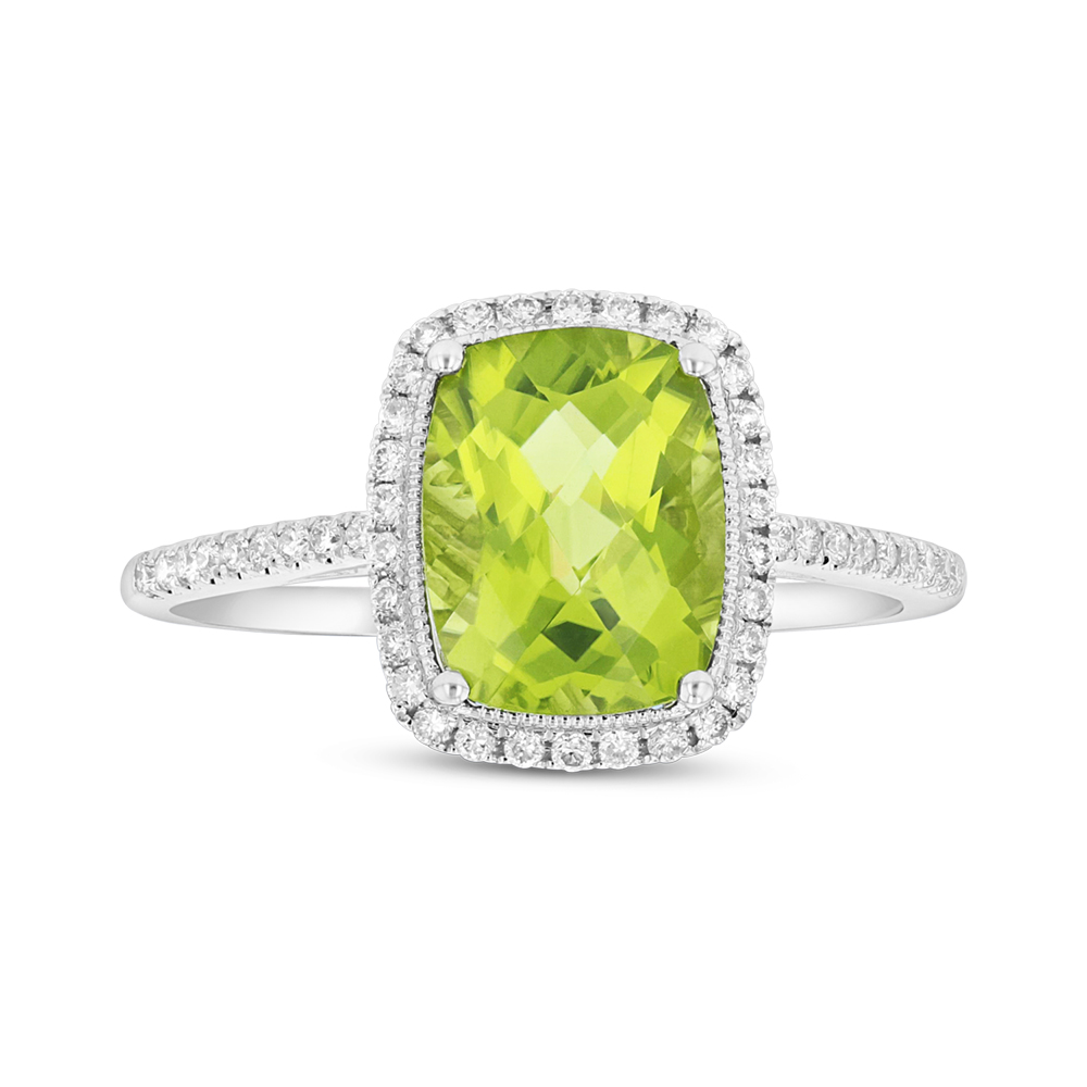 View 2.50cttw Diamond and Peridot Fashion Ring in 14k White Gold