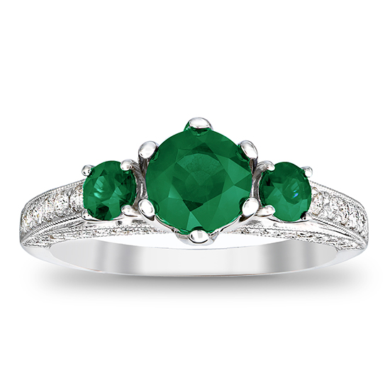 View 1.80cttw Emerald and Diamond Engagement Ring in 14k White Gold