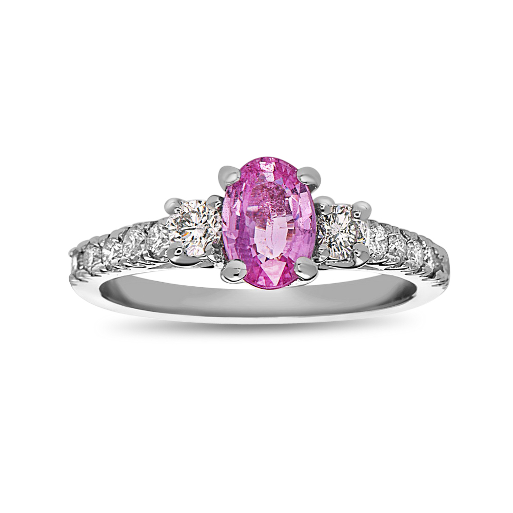 View 1 1/4cttw Pink Sapphire and Diamond Engagement Ring in 14k White Gold