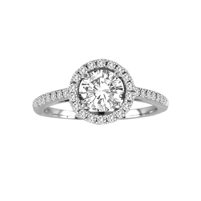 View 0.75cttw Diamond Halo Design Engagement Ring in 14k Gold