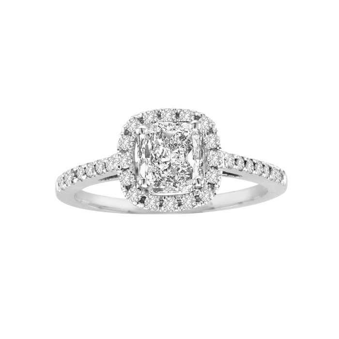 View 1.00cttw  Diamond Halo Design Engagement Ring in 14k Gold
