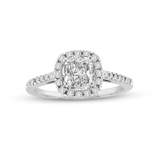View 1.10cttw Diamond Halo Engagement Ring in 14k Gold