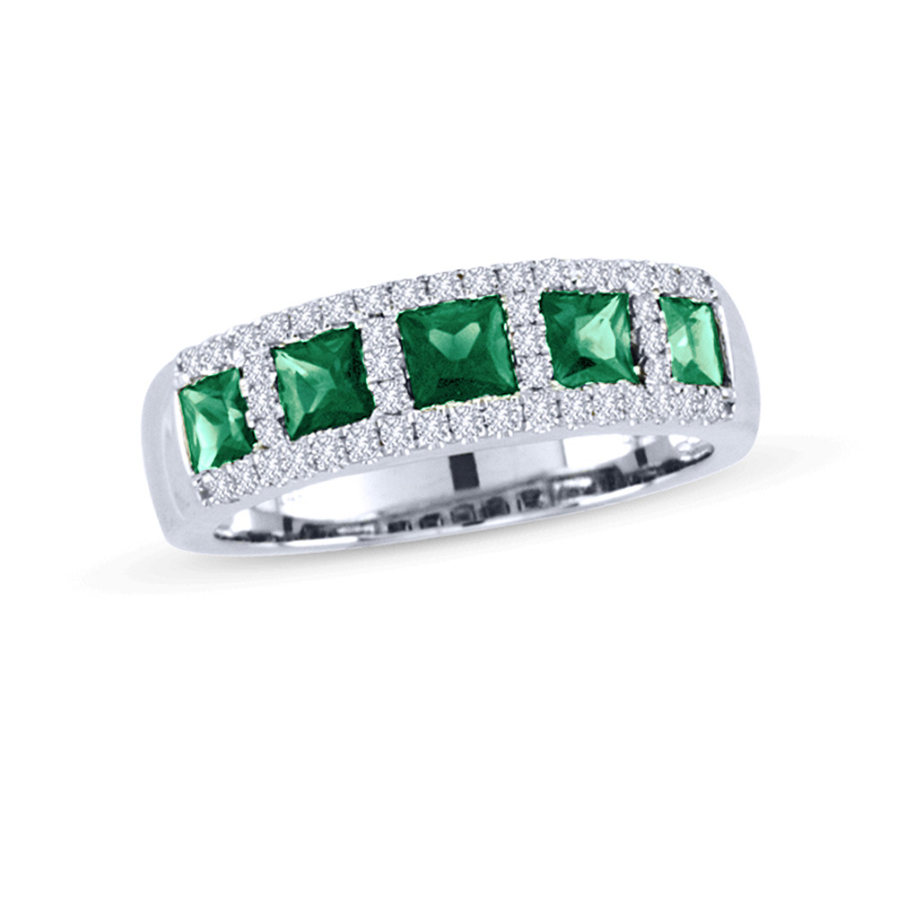 View 1.43ctw Diamond and Emerald Band in 14k WG