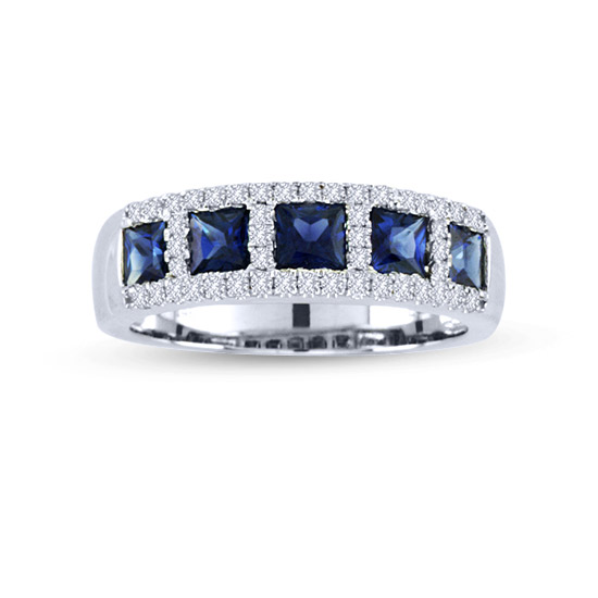 View 1.53cttw Diamond and Sapphire Fashion Wedding Band in 14k White Gold