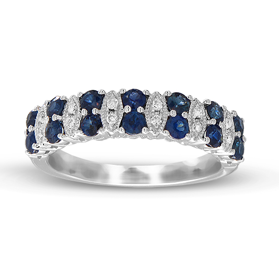 View 0.90cttw Diamond and Sapphire Wedding Band in 14k White Gold