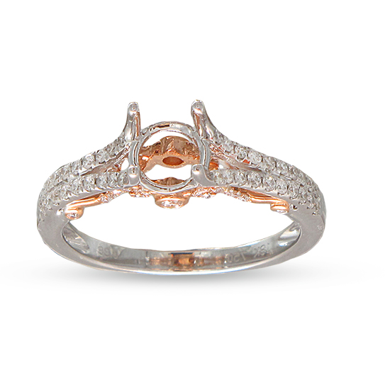 View 0.38cttw Diamond Semi Mount Engagement Ring in 18K Two Tone Gold