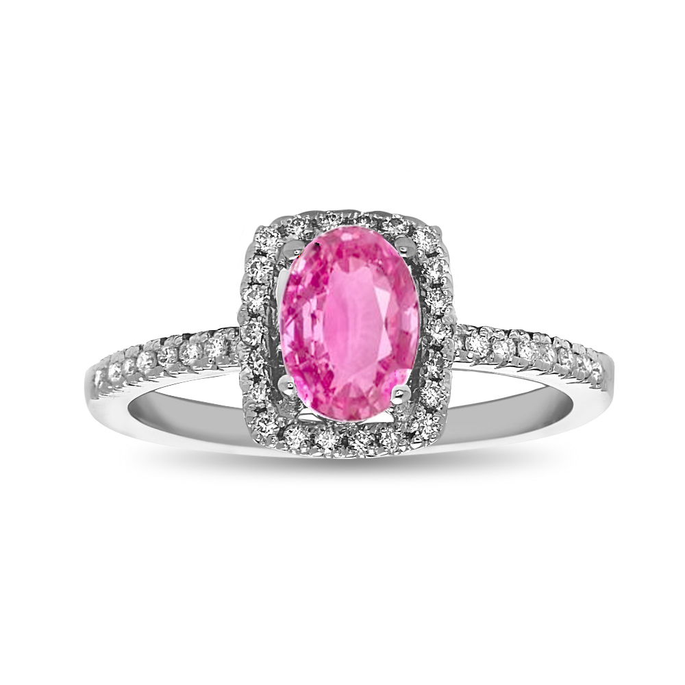 View 0.95cttw Pink Sapphire and Diamond Engagement Ring in 14k White Gold