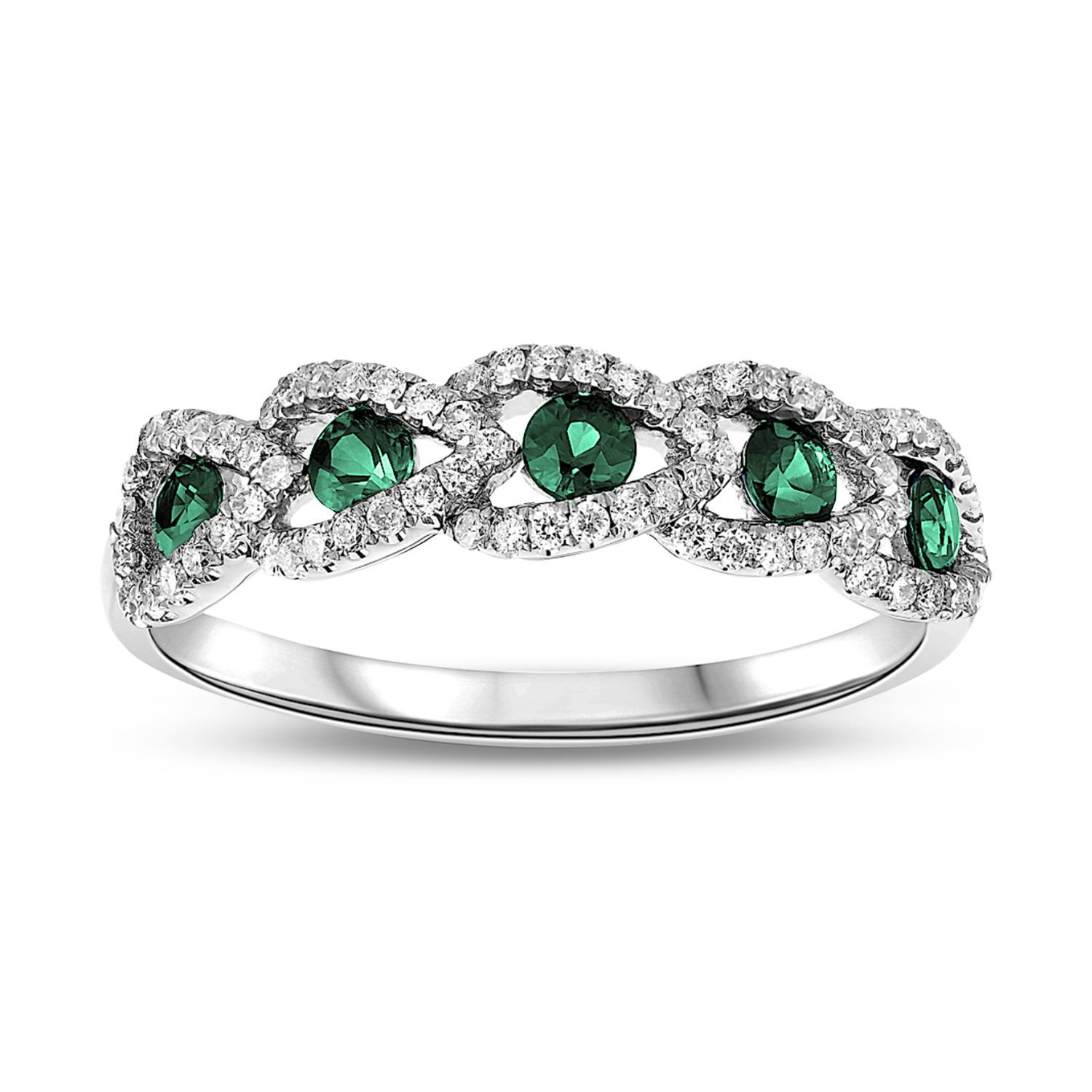 View 0.20ctw Diamond and Emerald Wedding Band in 18k Gold