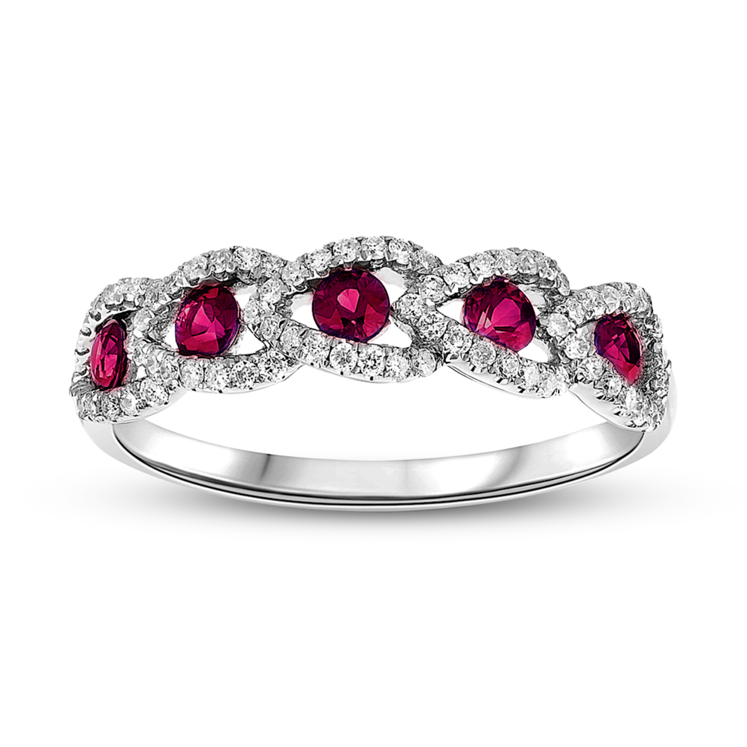View 0.70ctw Diamond and Ruby Wedding Band in 18k Gold