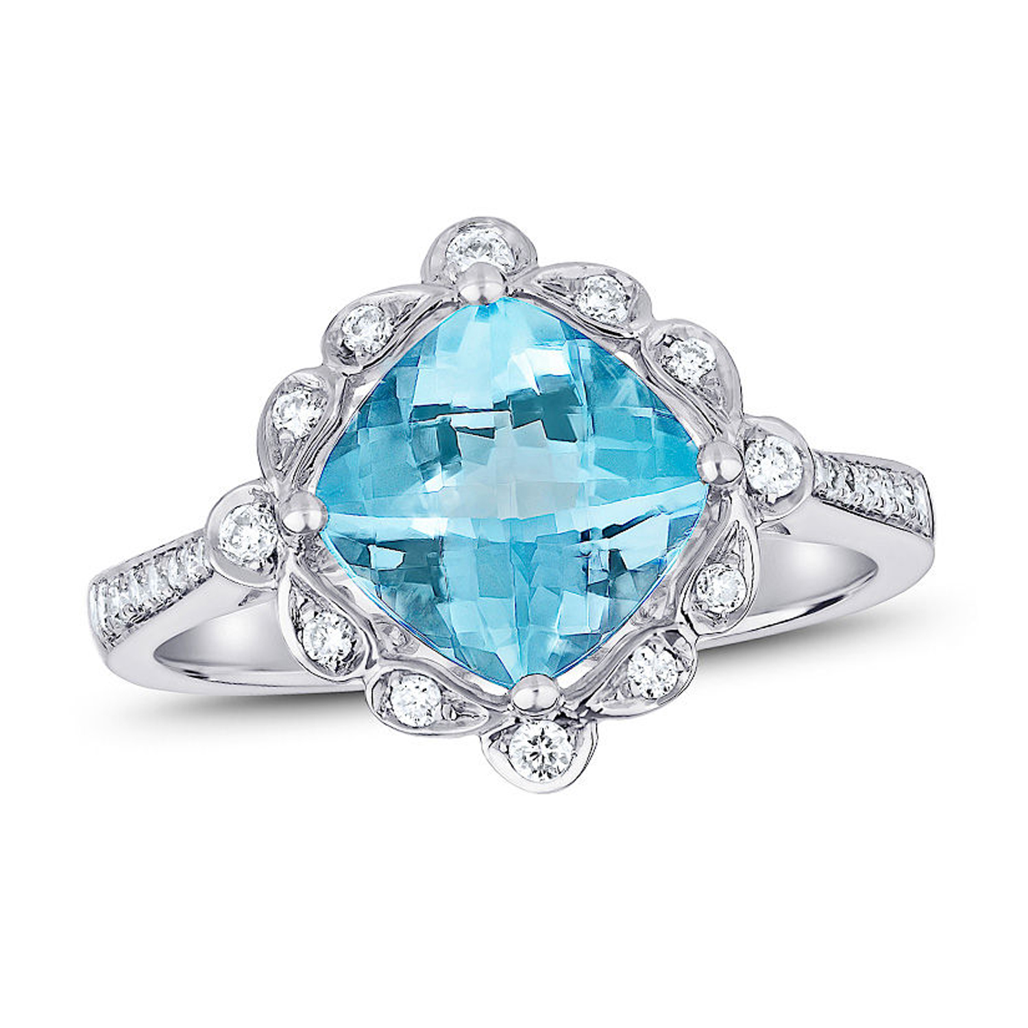 View 2.60ctw Blue Topaz and Diamond Ring in 14k White Gold