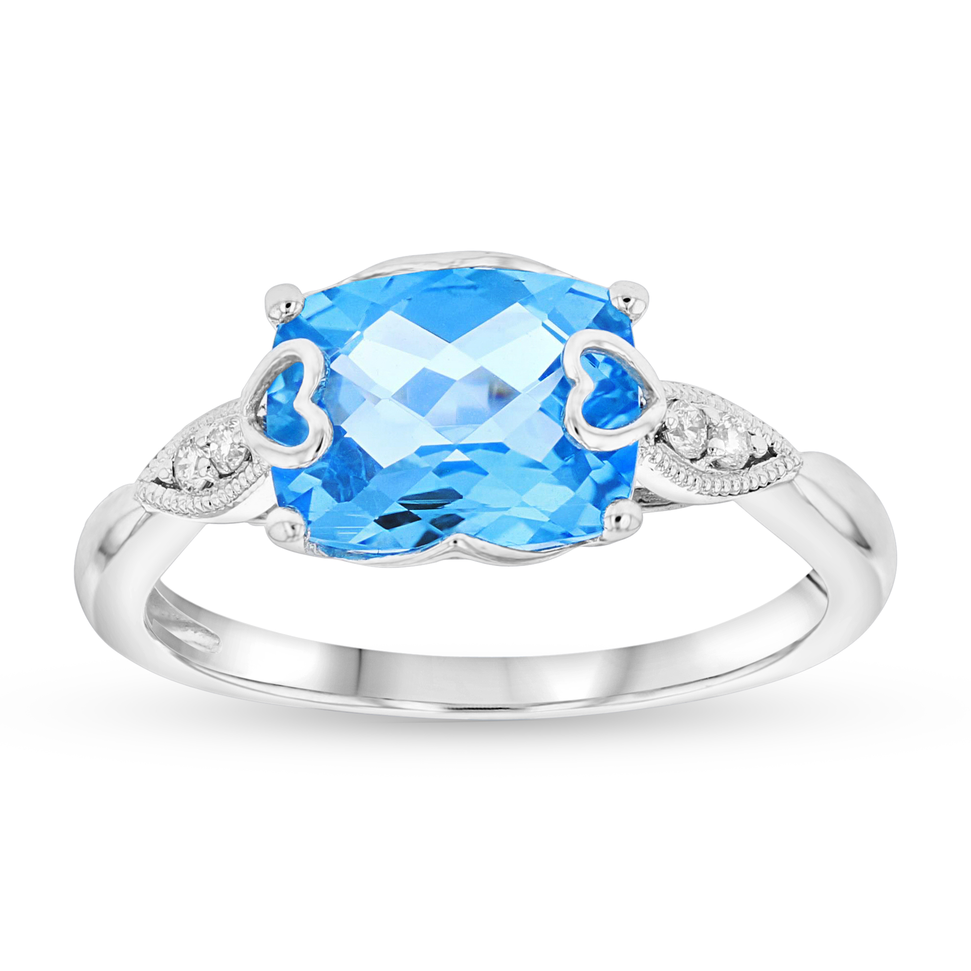 View 2.46ctw Blue Topaz and Diamond Ring in 14k White Gold