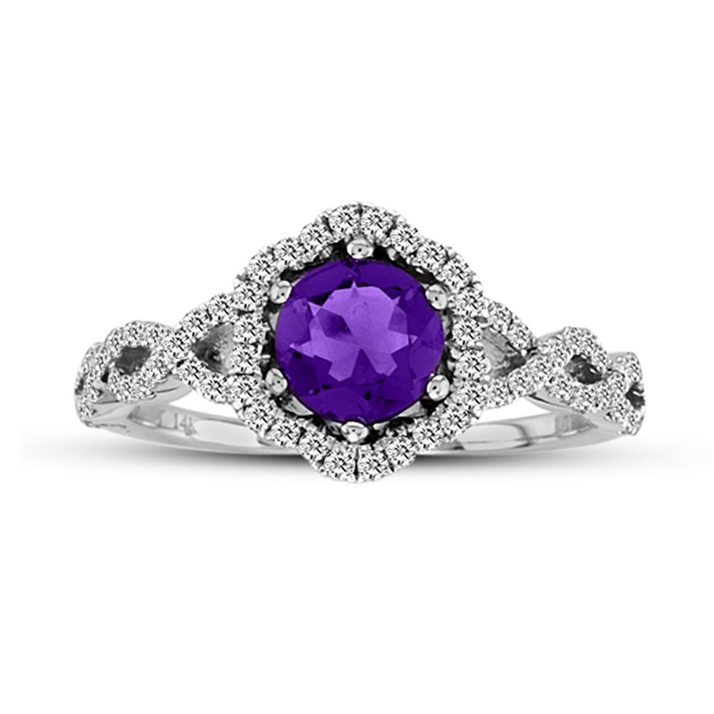 View 0.34ctw Diamond and Amethyst Fashion Ring in 14k Gold