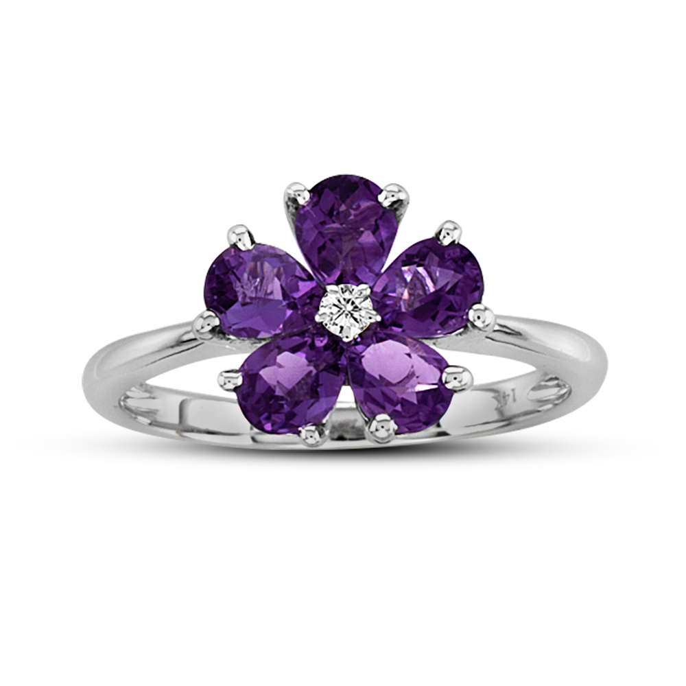 View 0.03 ct Diamond with Amethyst Ring 14K Gold