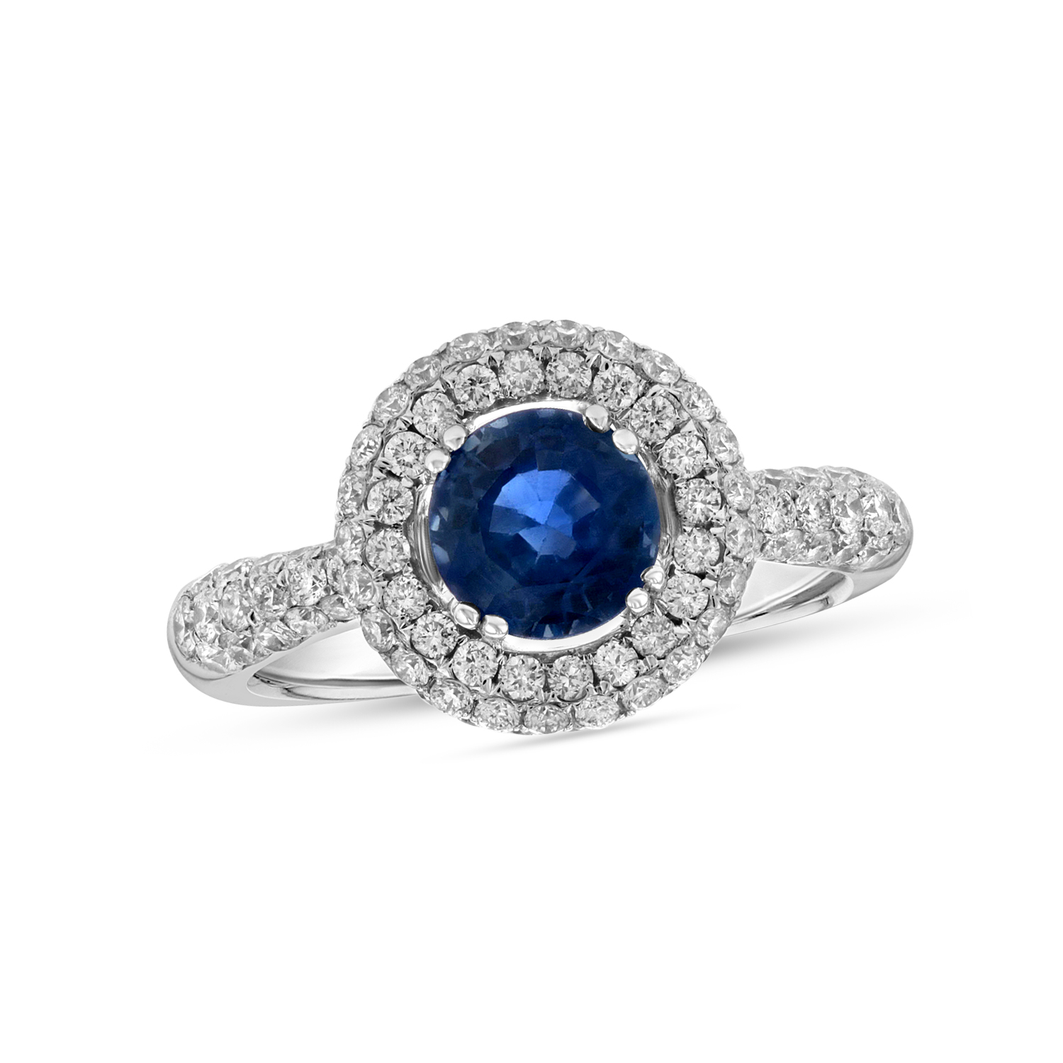 View 2.10cttw Sapphire and Diamond Engagement Ring in 18k White Gold