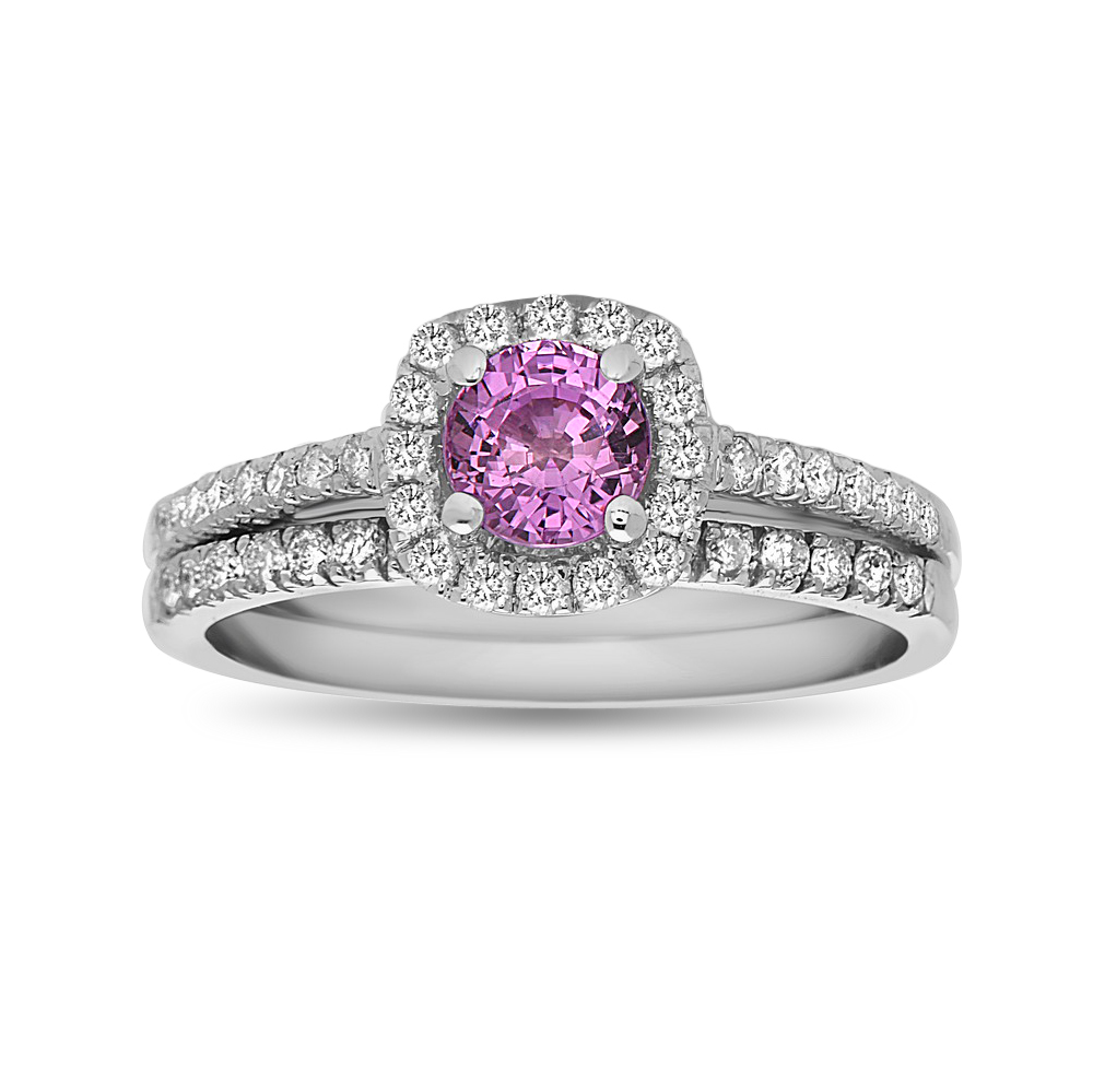 View 1.20ctw Pink Sapphire and Diamond Engagement Set in 14k White Gold