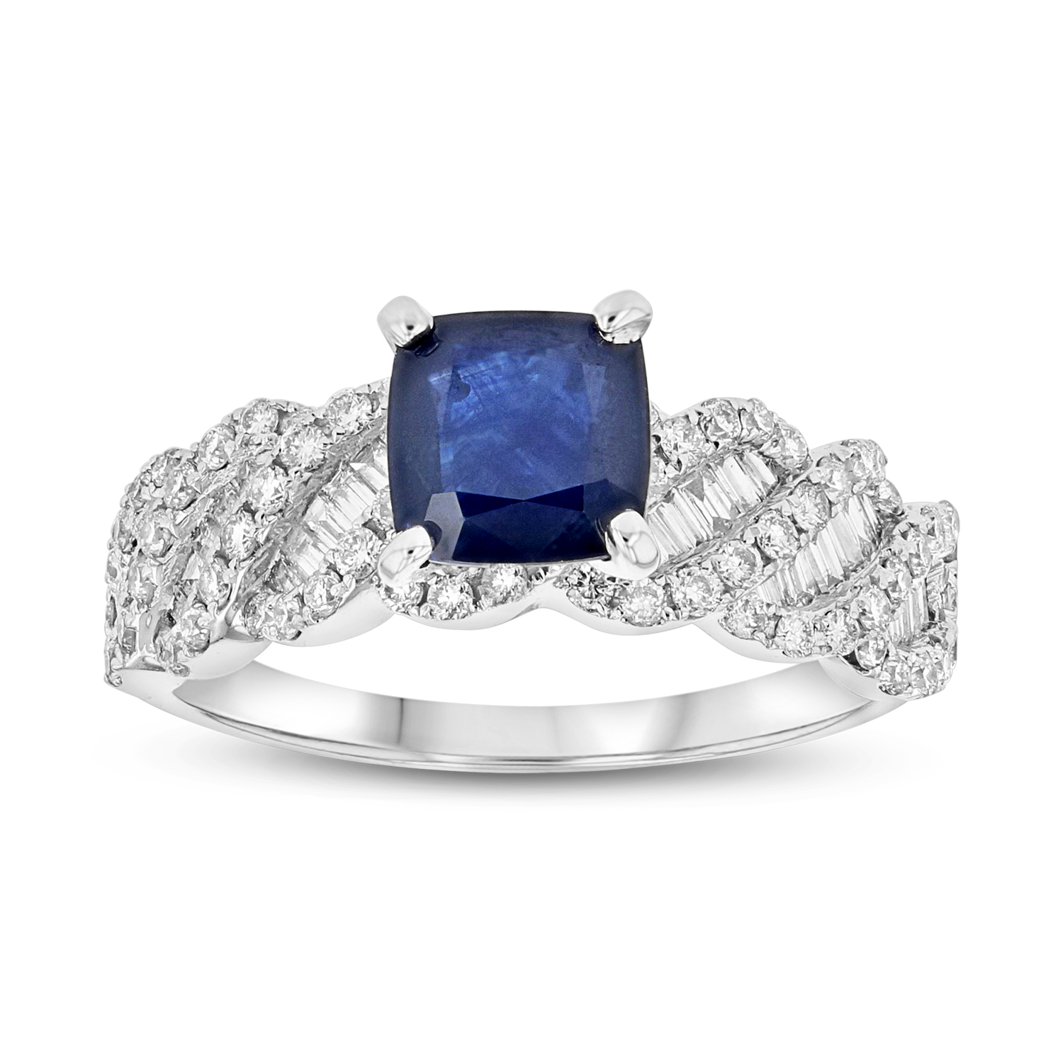 View 1.97ctw Sapphire and Diamond Engagement Ring in 18k White Gold